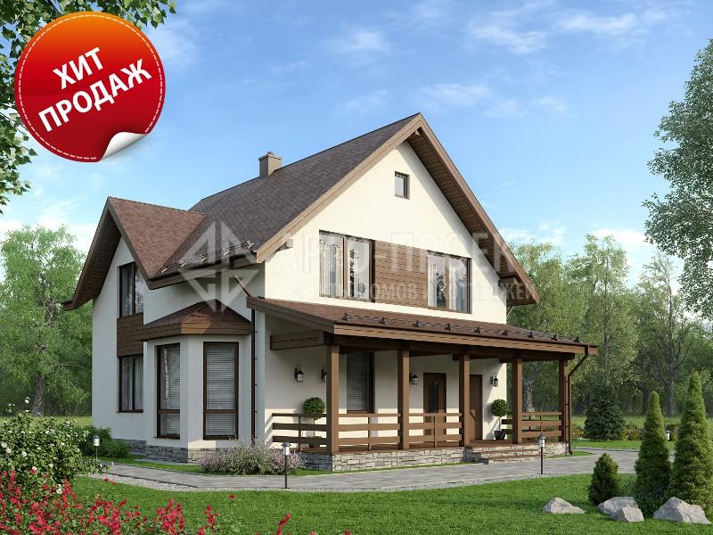 Проект: 3-52 Проект загородного дома с террасой и эркером