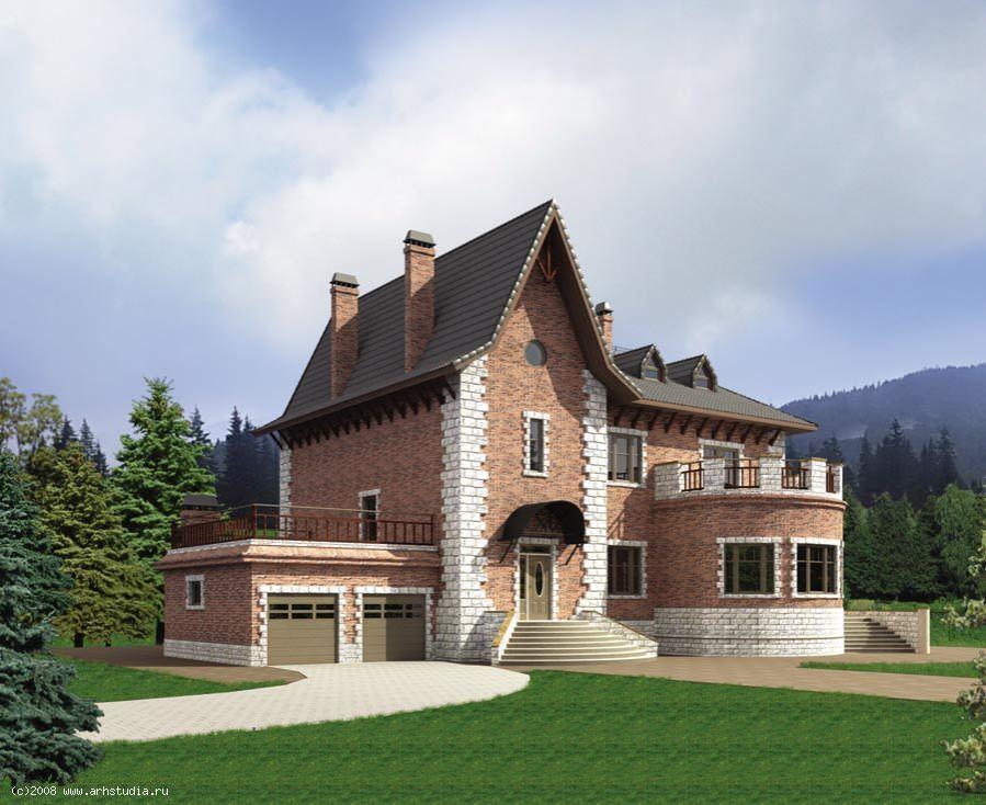 дома из кирпича с башенками проекты фото скромно